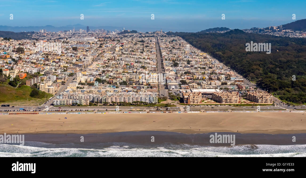 Aerial view, Outer Richond with Balboa Street, Cabrillo Street and Fulton Street, settlement blocs, San Francisco - Stock Image
