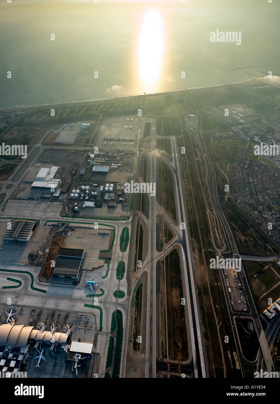 Los Angeles International Airport, LAX, runway, Los Angeles, Los Angeles County, California, USA - Stock Image