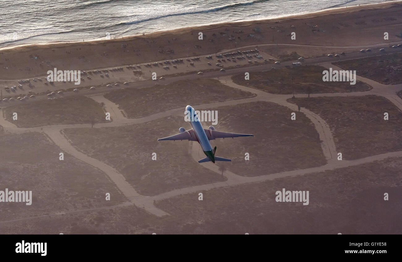 Los Angeles International Airport, LAX, runway, jet taking off, Los Angeles, Los Angeles County, California, USA - Stock Image