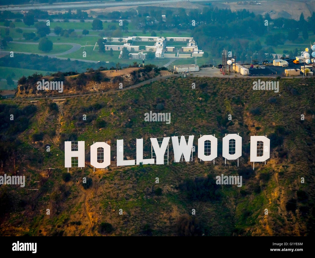 Hollywood sign on Mount Lee Drive, Hollywood Hills, Los Angeles, Los Angeles County, California, USA - Stock Image