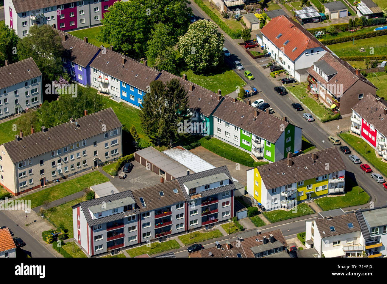 Aerial view, apartment buildings as a participant in a facade competition for rent, apartment buildings, Hamm, Ruhr - Stock Image