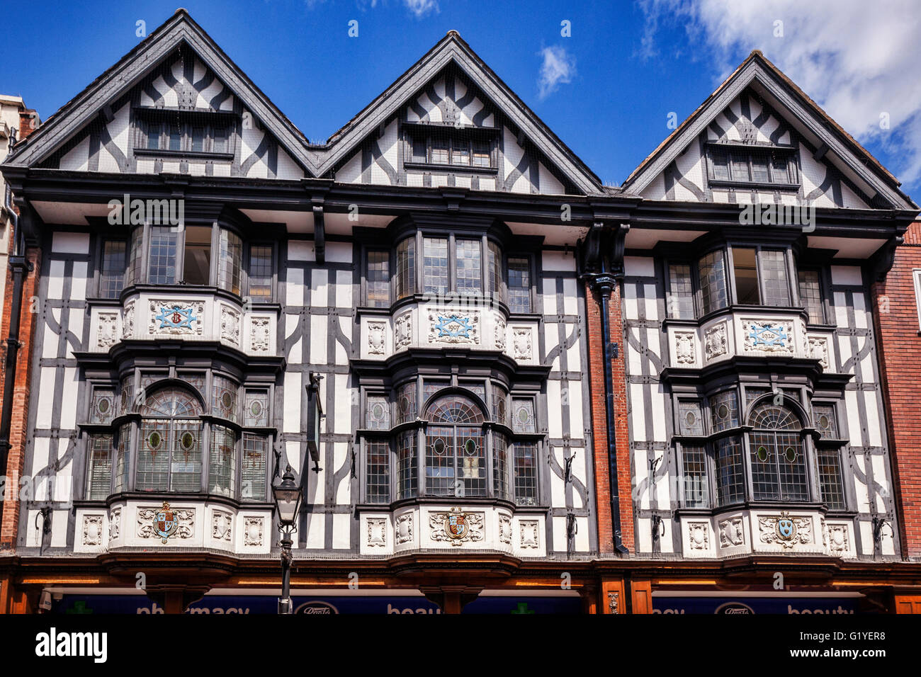 Tudor building in Pride Hill, Shrewsbury, half timbered and decorated with pargetting, Shropshire, England, UK - Stock Image