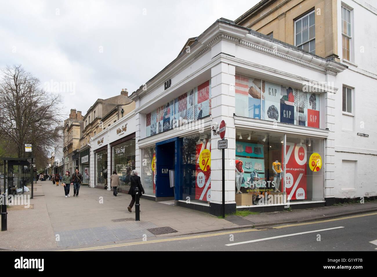 Gap clothes shop on the Promenade in Cheltenham, Gloucestershire, UK - Stock Image