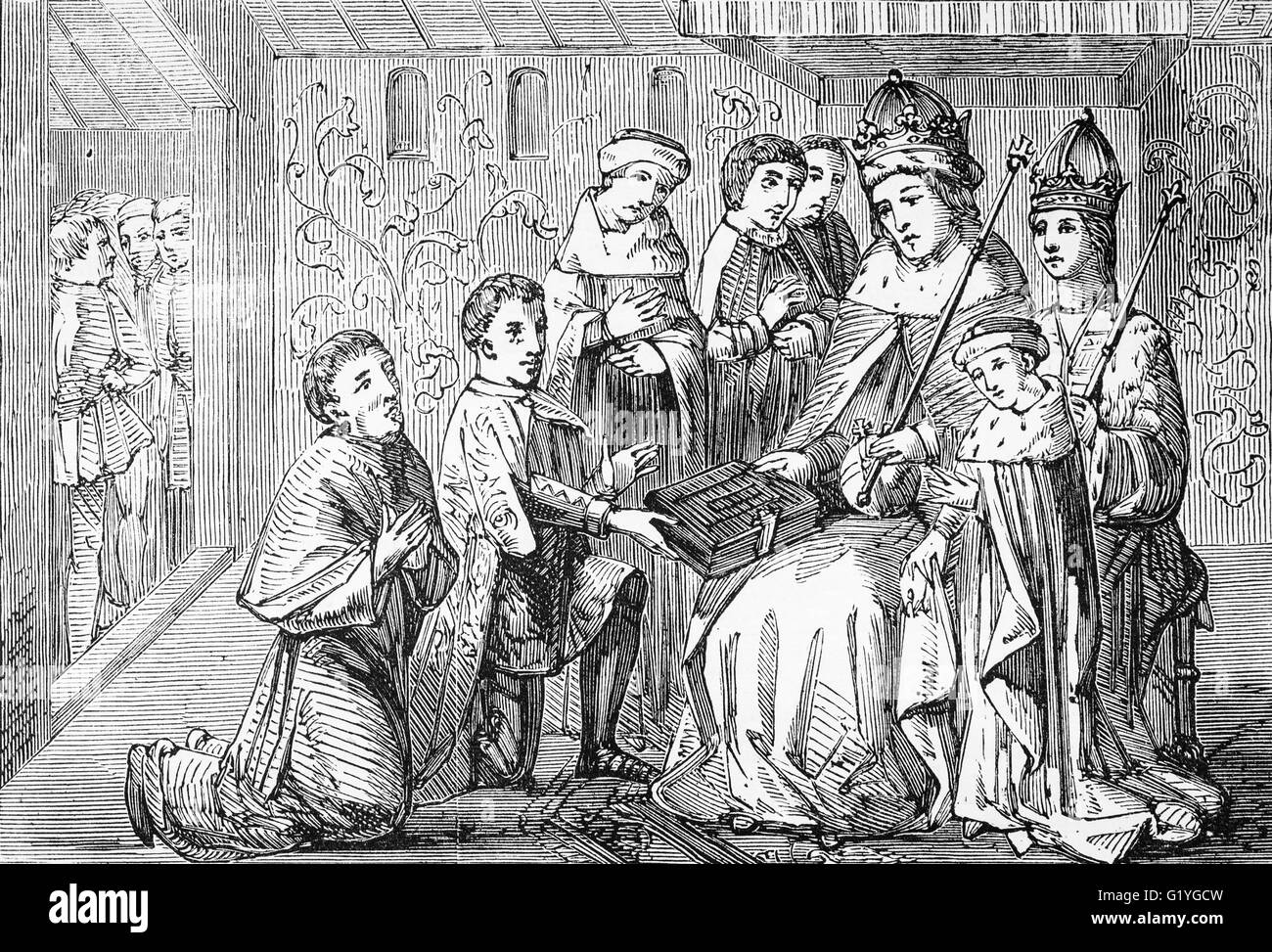 Presentation to King Edward IV of William Caxton,  English merchant, writer and printer.  Thought to be the first - Stock Image