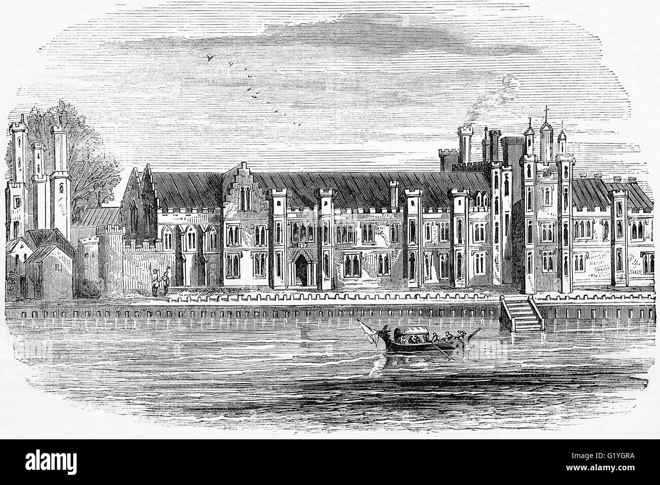 The original Greenwich Palace built by Humphrey, Duke of Gloucester, in 1443,  On the banks of the River Thames, downstream from London.
