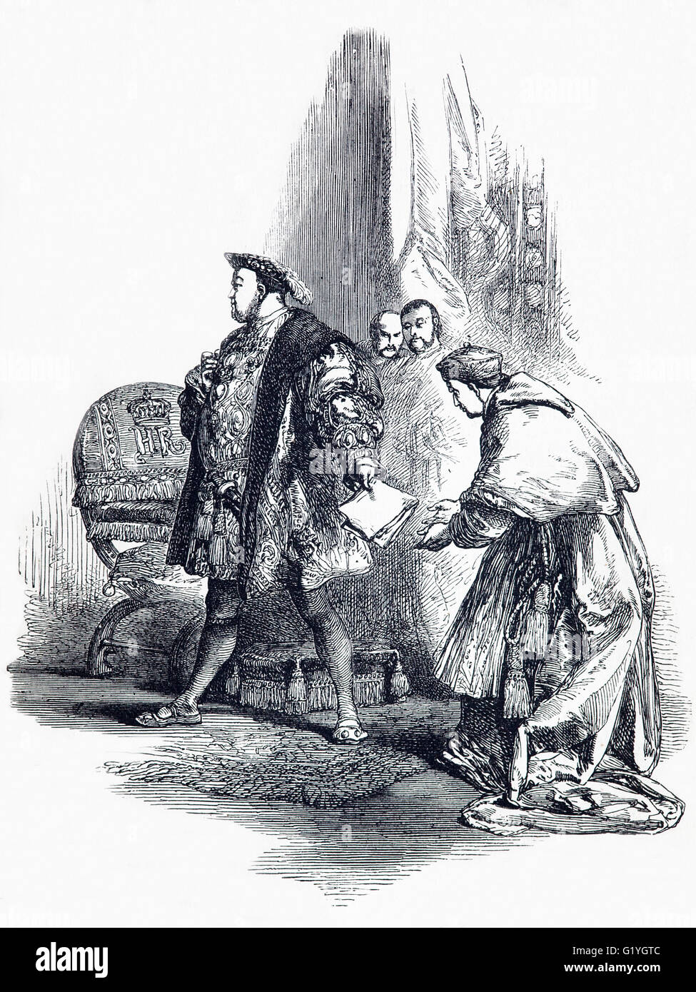 Dismissal of Cardinal Thomas Wolsey by Henry VIII in 1529 after Henry decided to seek an annulment of his marriage - Stock Image