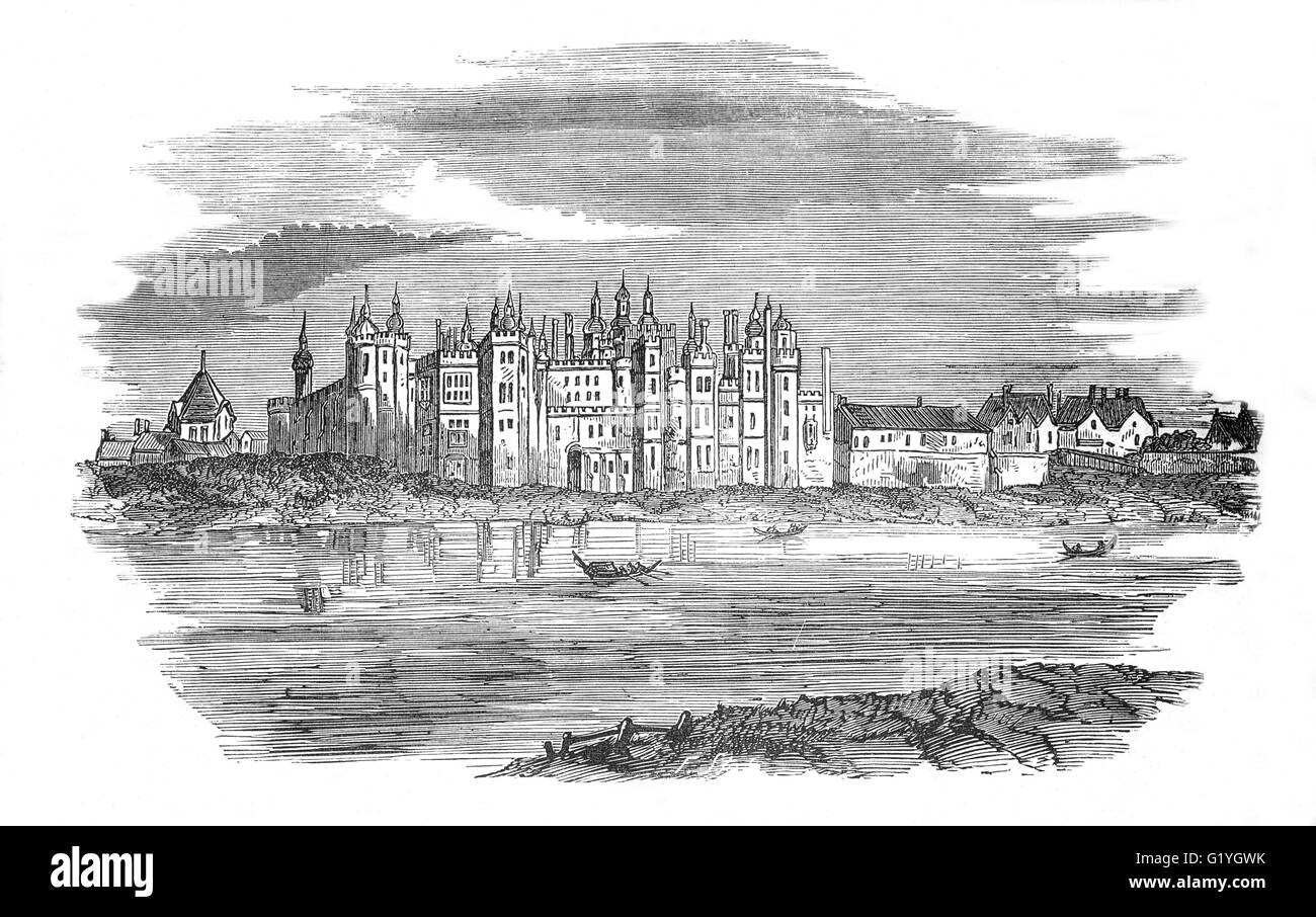 The old Richmond Palace, royal residence on the River Thames in England  erected about 1501 by Henry VII of England - Stock Image