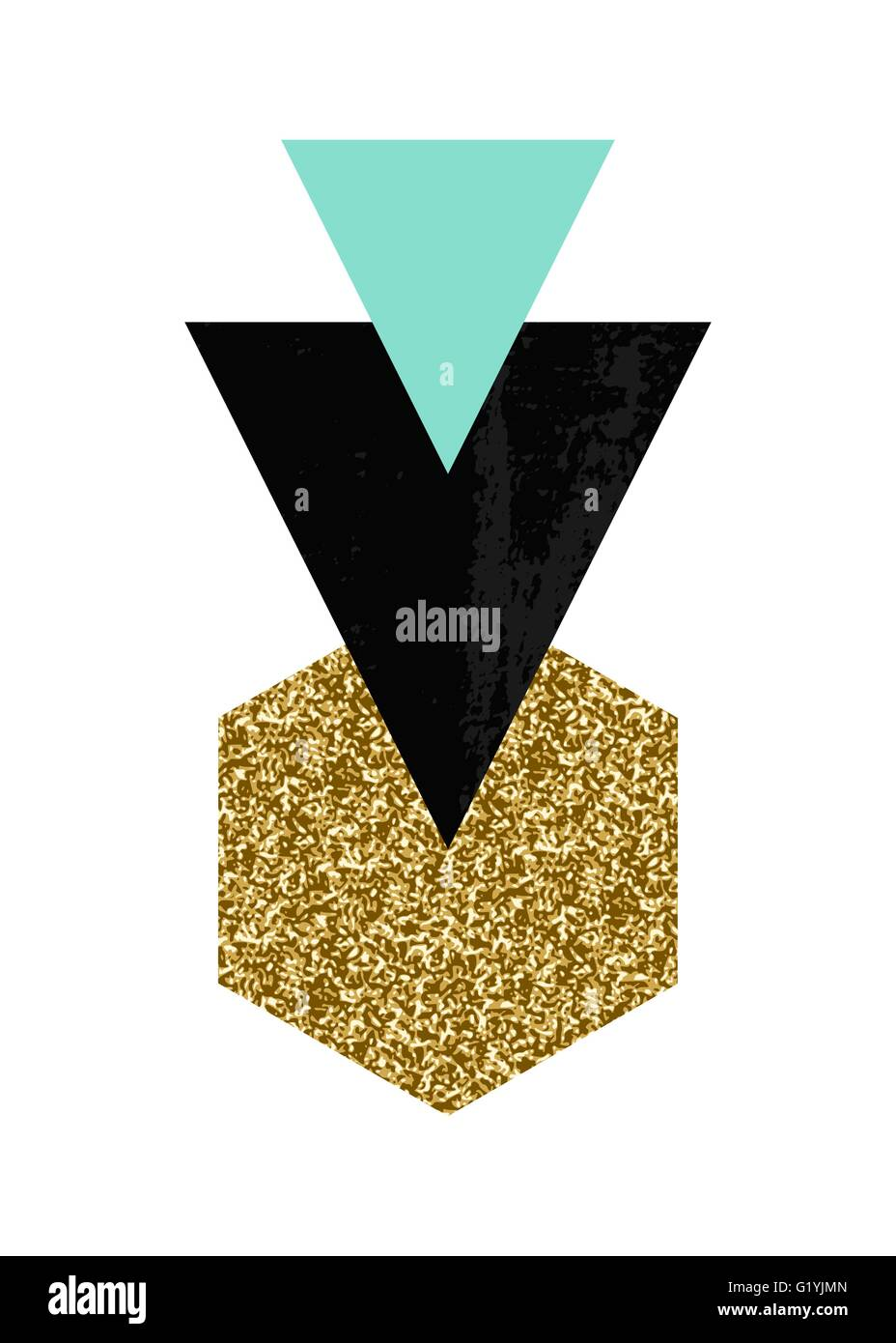 Abstract Composition With Textured Geometric Shapes In Black Turquoise Green And Gold Glitter Minimalist Modern Poster Br