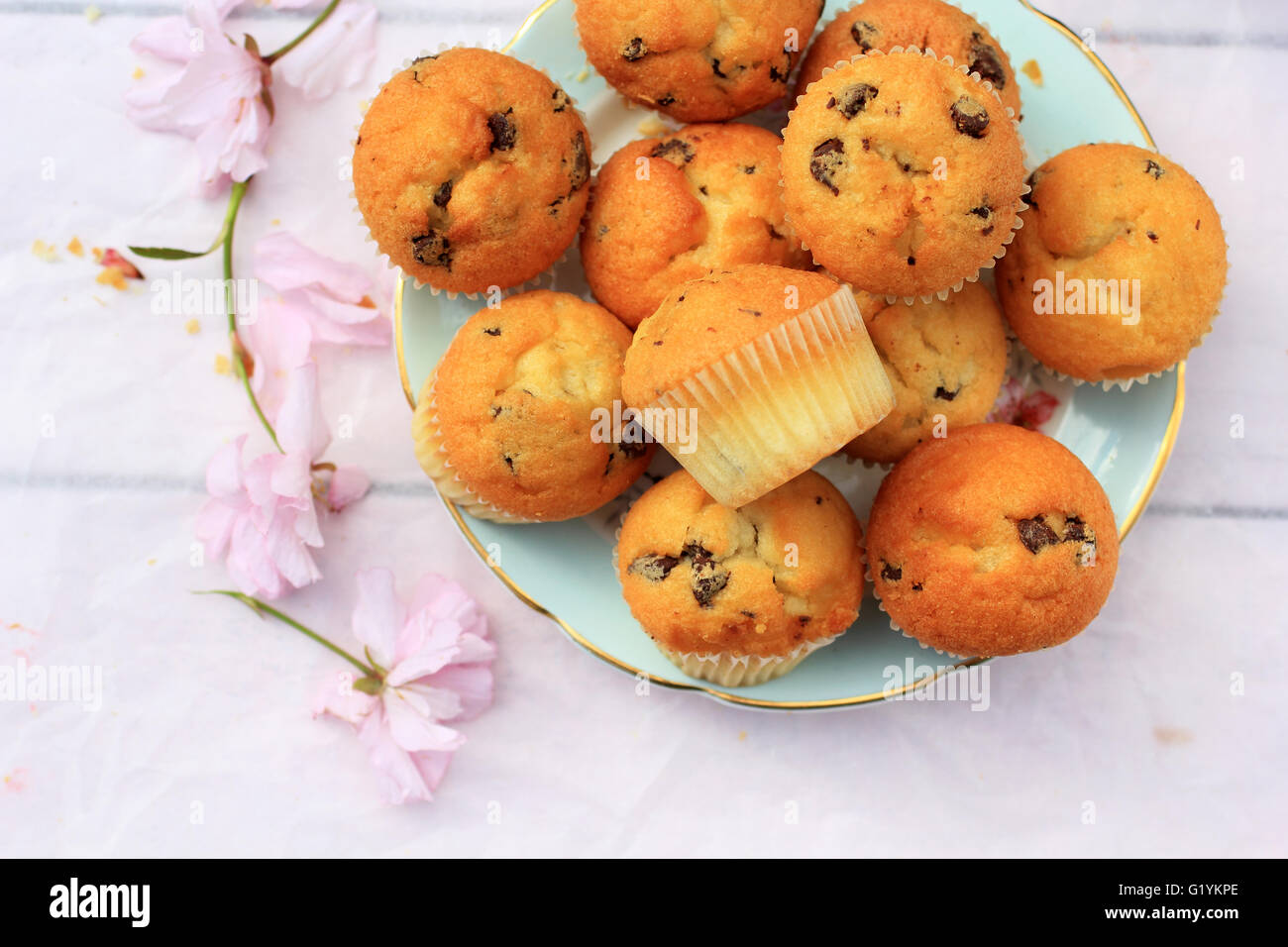 Rustic wooden breakfast background with bluberries, fresh muffins and blooming cherry flowers - Stock Image