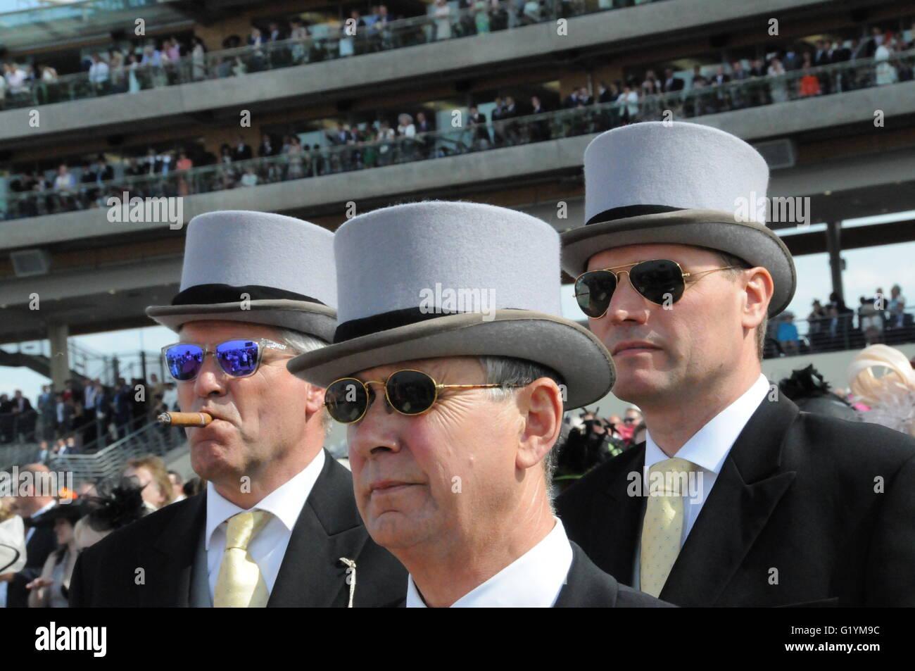 Punters wearing top hats and shades, at Royal Ascot - Stock Image