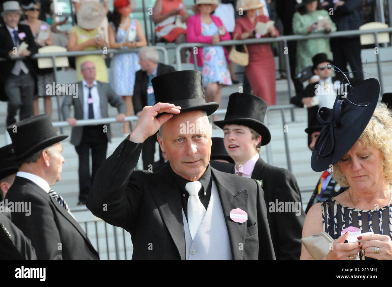 Race horse owners dressed-up, for the Royal Ascot, horse racing event - Stock Image