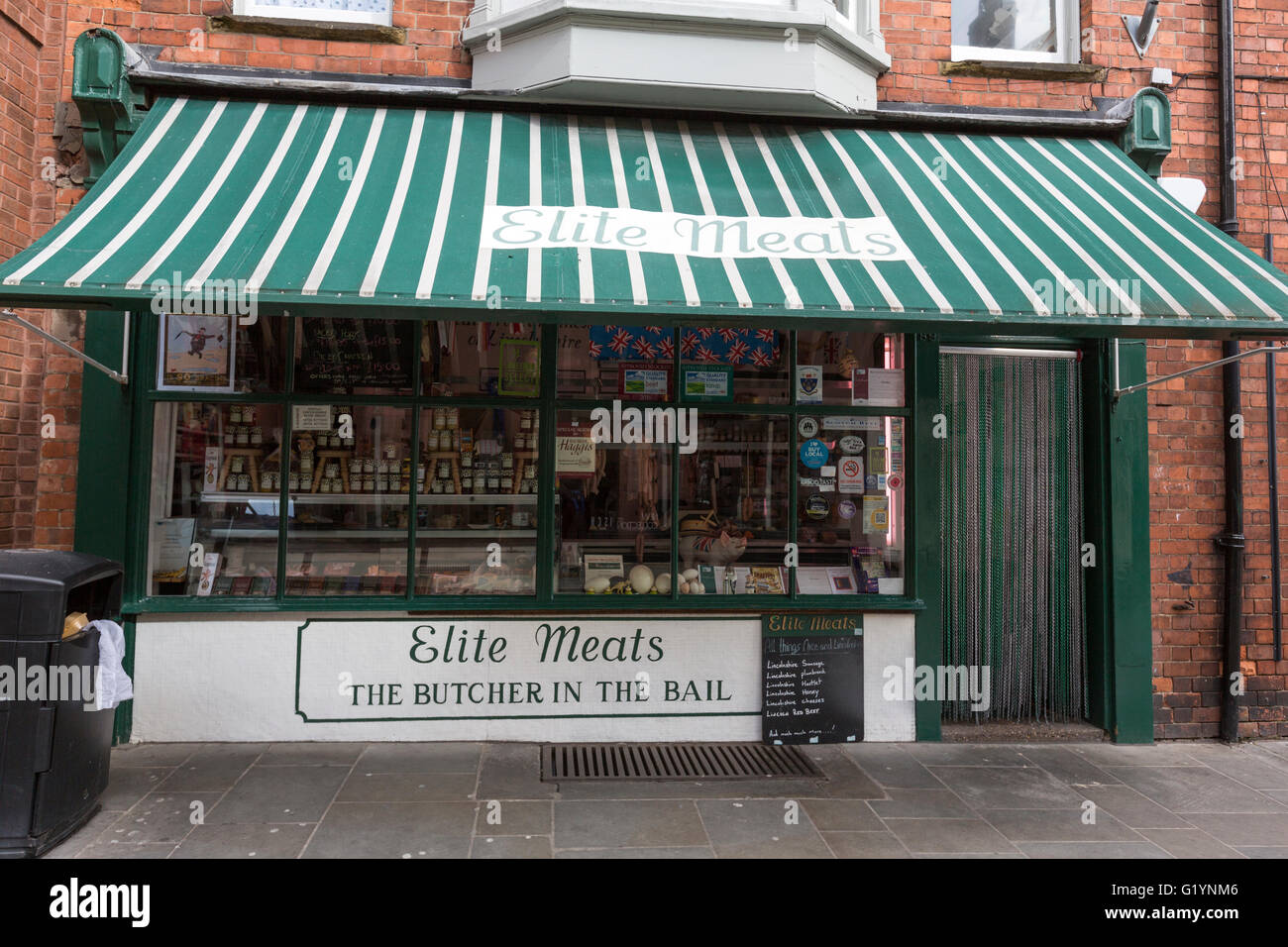 Elite Meats, The Butcher in the Bail shop, Bailgate, Lincoln, Lincolnshire, England, UK - Stock Image