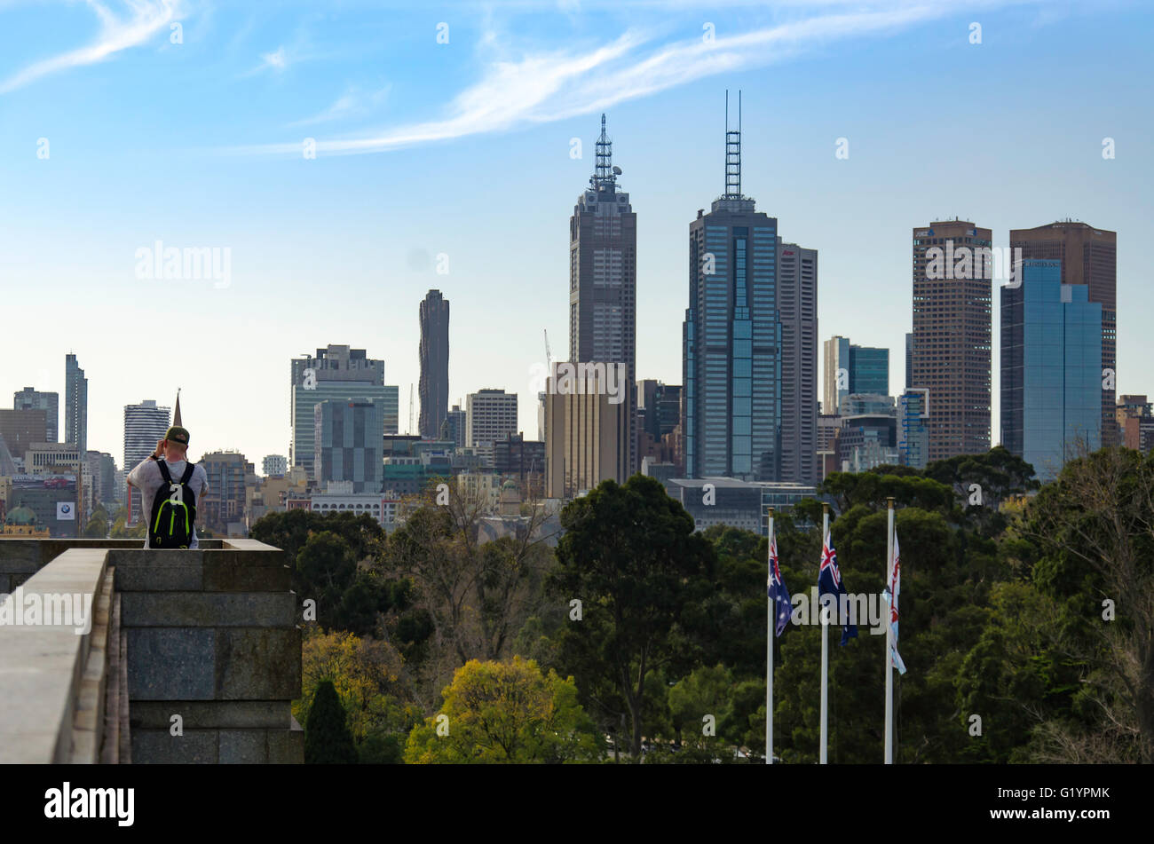 Views of Melbourne CBD from the World War 1 Shrine of Remembrance in Melbourne, Victoria, Australia - Stock Image