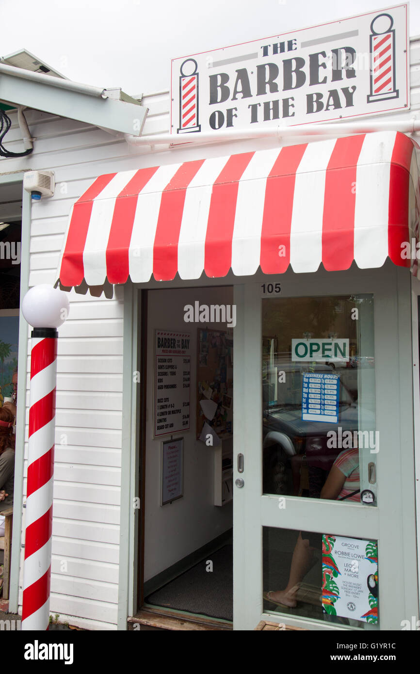 Traditional Barbers shop in Byron Bay, new south wales,australia - Stock Image