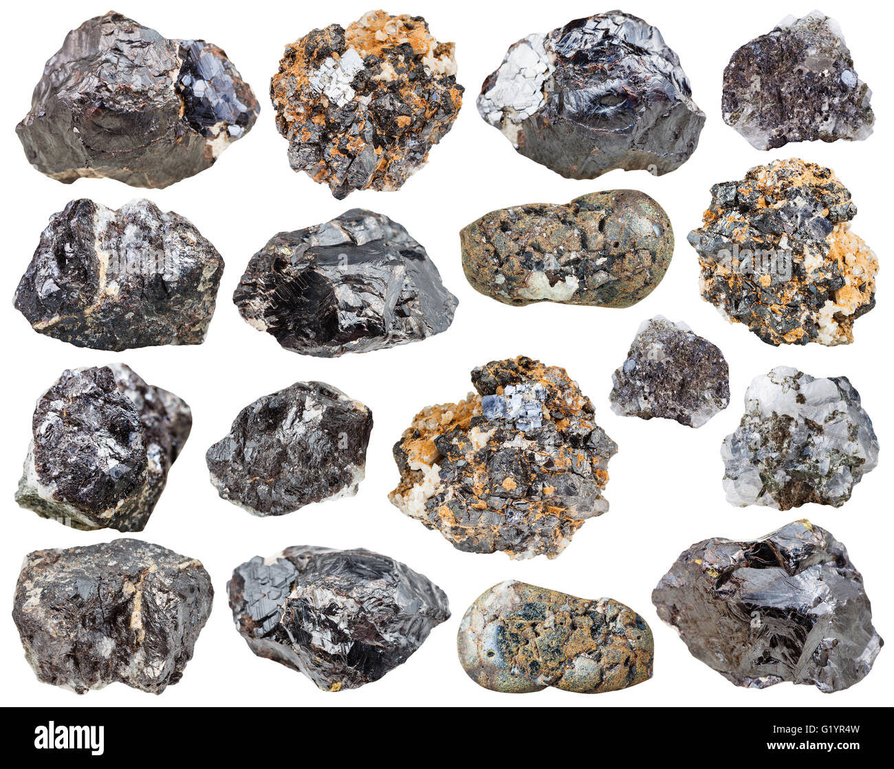 set of various natural mineral stones - rock of sphalerite (zinc blende) isolated on white background Stock Photo