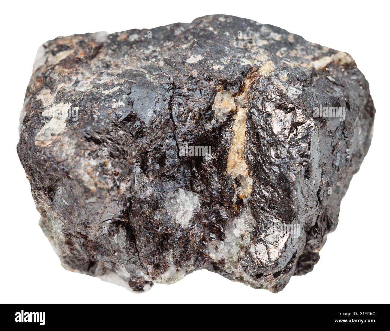 macro shooting of natural mineral stone - specimen of sphalerite (zinc blende) isolated on white background - Stock Image