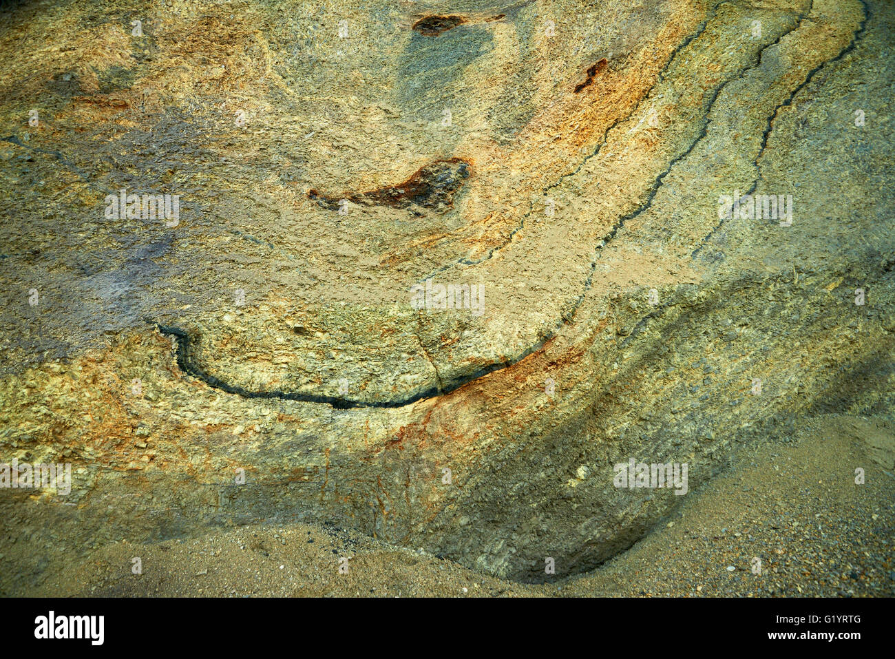 Fur formation, marine sediment made of diatoms and clay minerals, Palaeocene-Eocene, Fur Island, Denmark Stock Photo