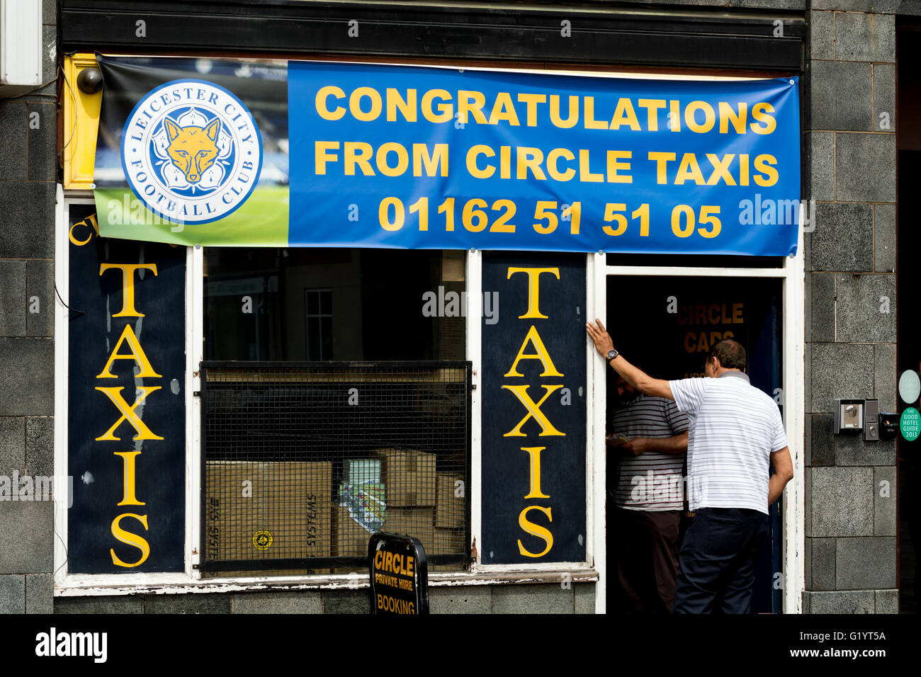 Leicester City Football Club congratulations banner, Leicester city centre, UK - Stock Image
