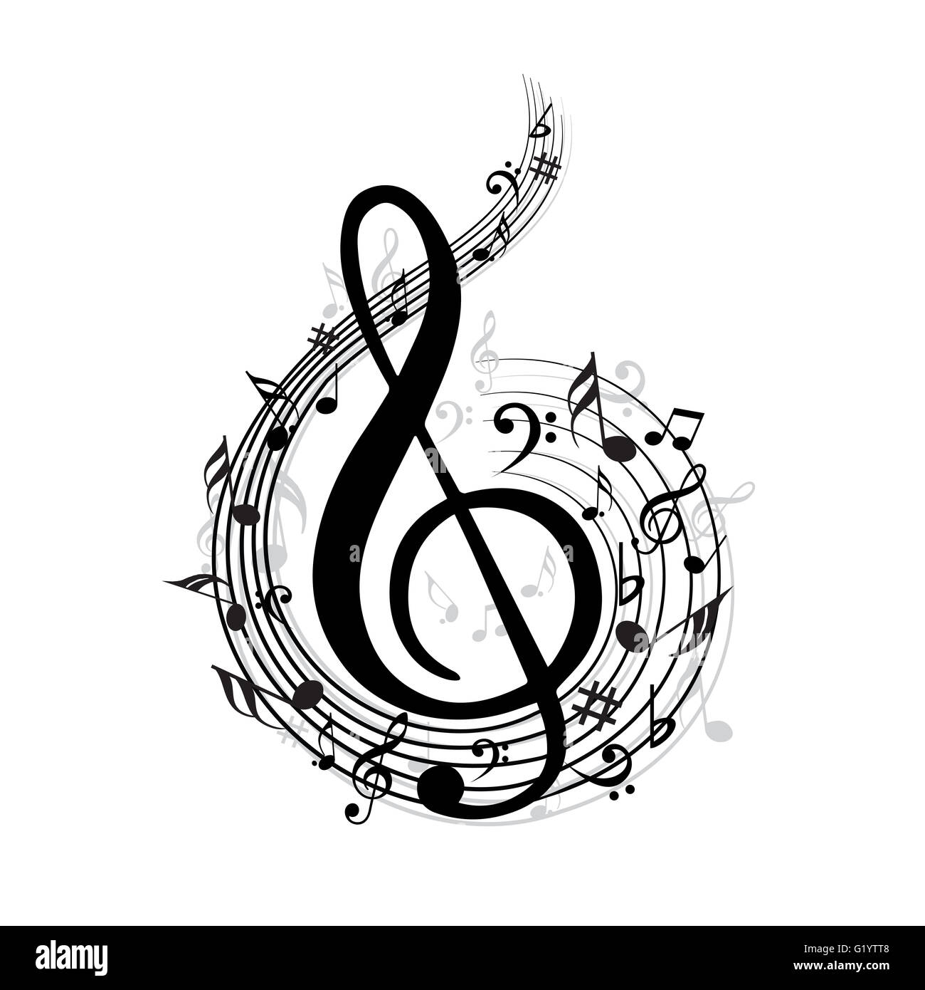 Music Note With Music Symbols Stock Photo 104489064 Alamy