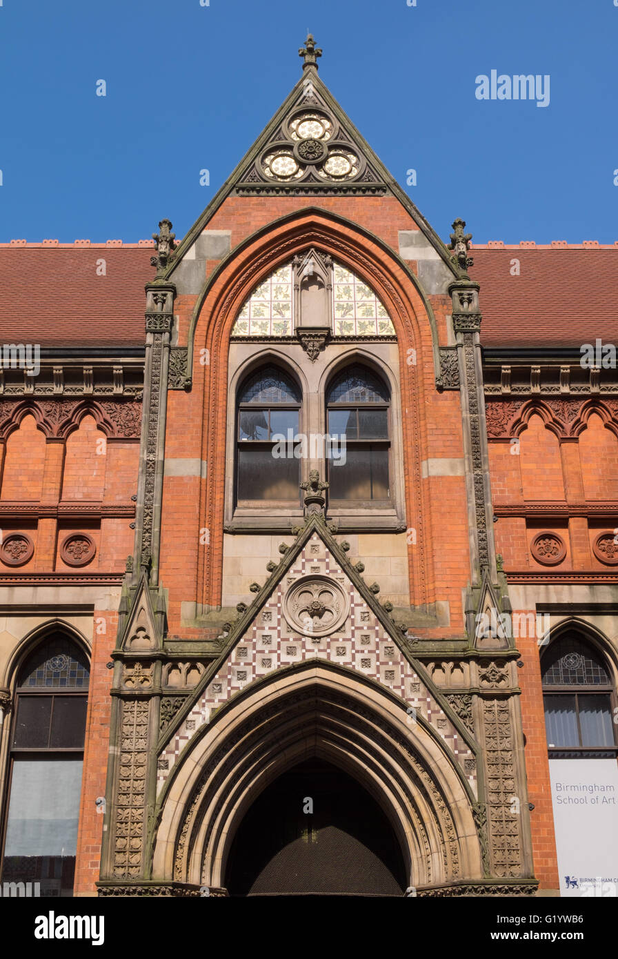 detail of the Venetian Gothic style of the Birmingham School of Art, UK - Stock Image