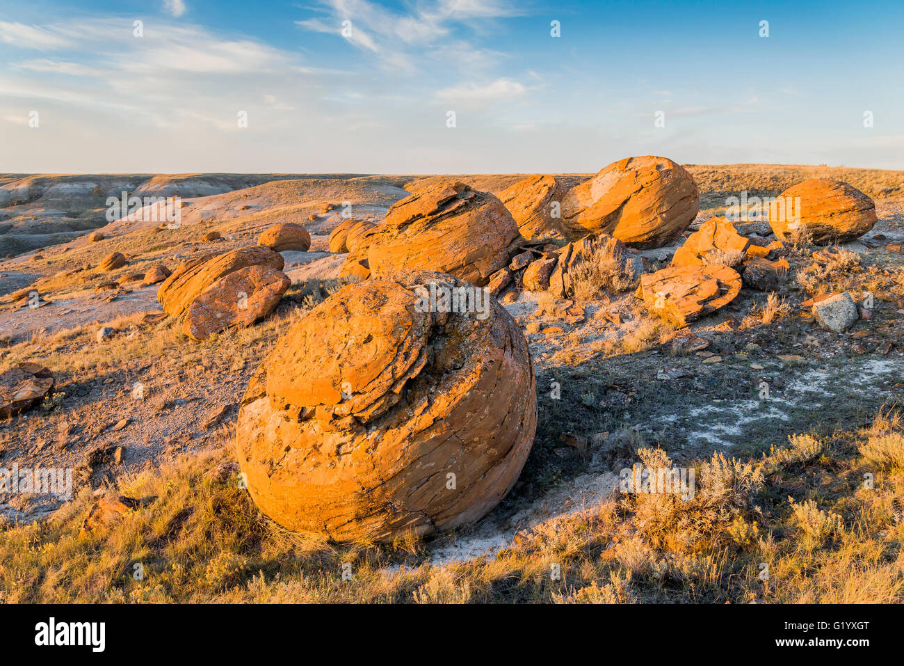 Large sandstone concretions, Red Rock Coulee Natural Area, Alberta, Canada - Stock Image