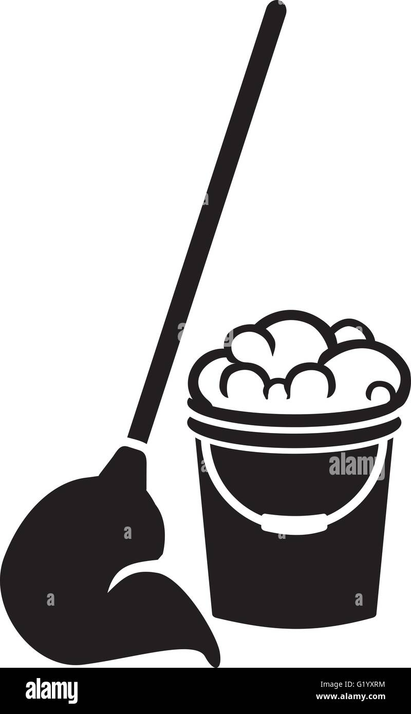 Floor cleaning bucket with mop - Stock Vector