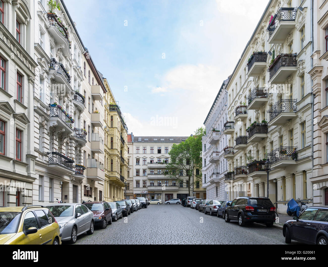 typical street view of traditional apartment buildings and cobbled stock photo 104491689 alamy. Black Bedroom Furniture Sets. Home Design Ideas
