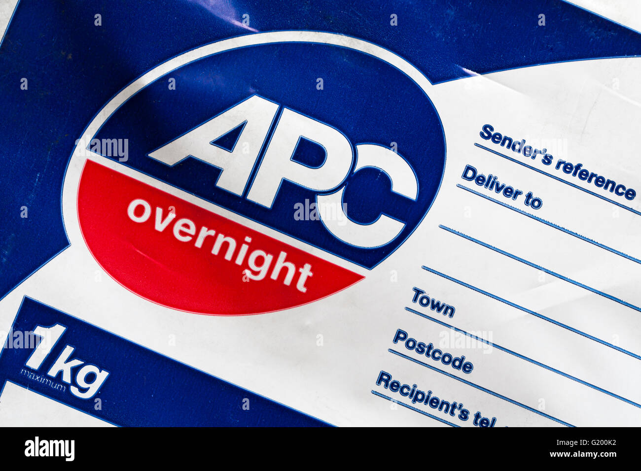 detail on APC overnight package - Stock Image
