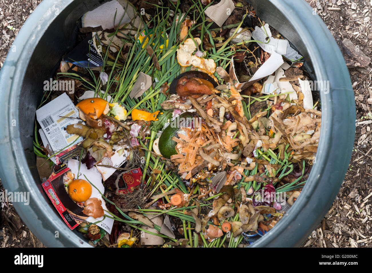 interior of a plastic compost bin for home use with food scraps and stock photo 104492092 alamy. Black Bedroom Furniture Sets. Home Design Ideas