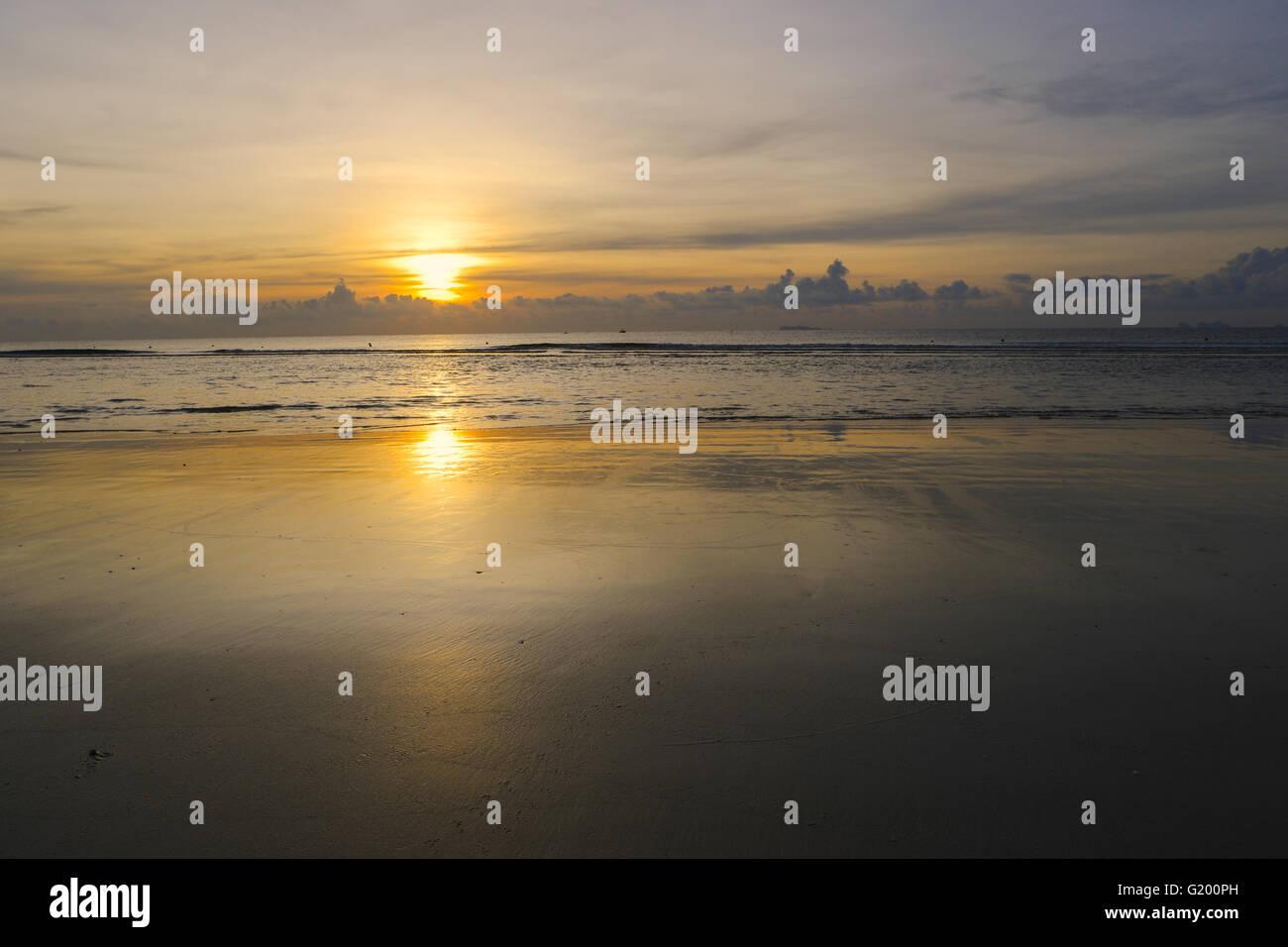 The empty Beach Sunset backdrop. Stock Photo