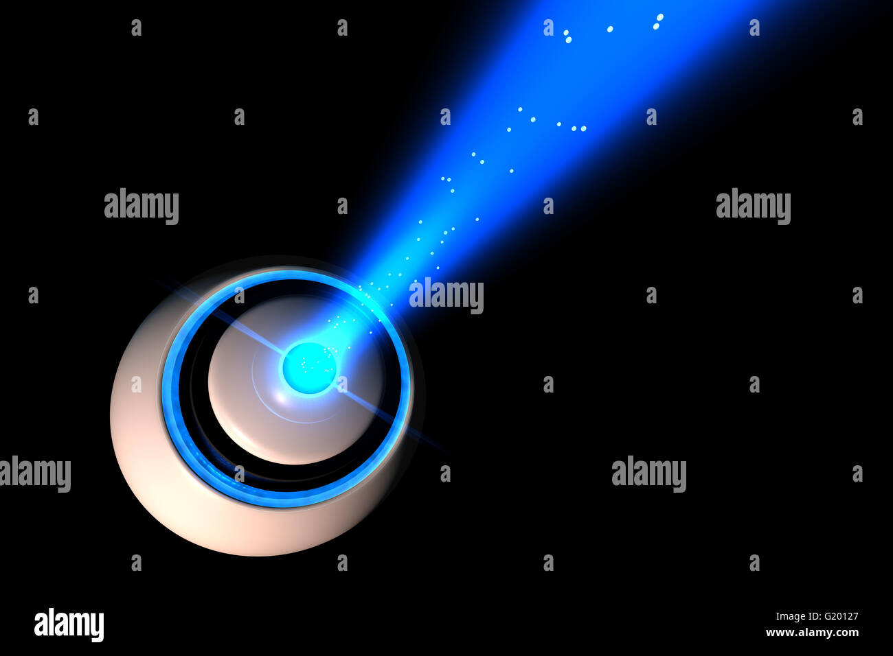 3D ball or craft with a beam of light emanating from it. - Stock Image