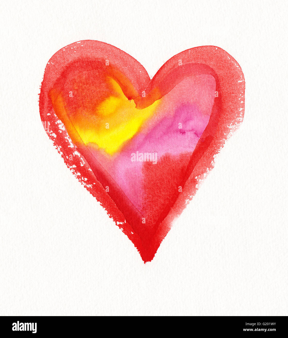 Color filled heart watercolor painting - Stock Image