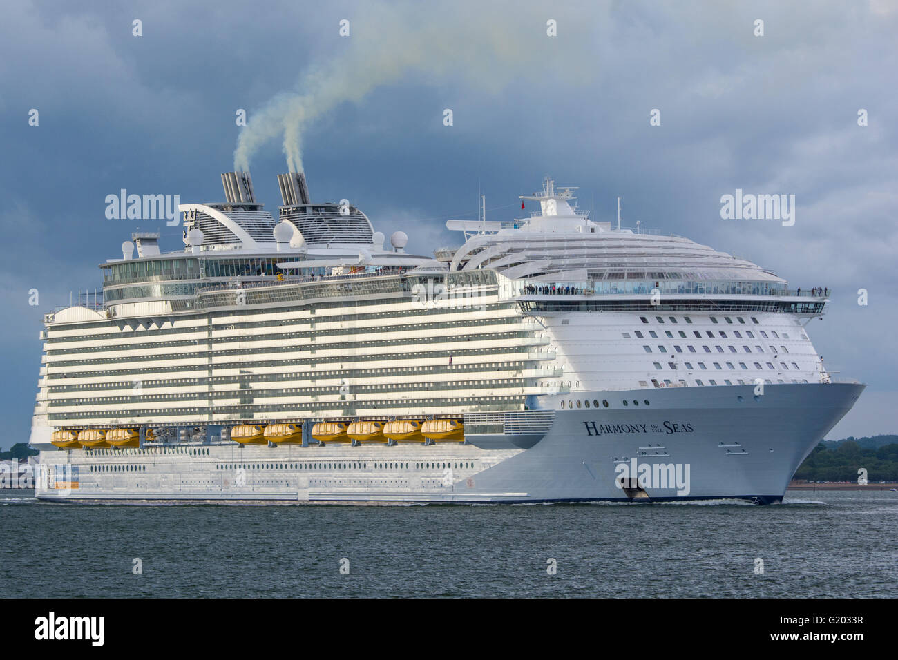 The cruise ship Harmony of the Seas departing Southampton, UK on the 22nd May 2016 for it's maiden cruise. - Stock Image