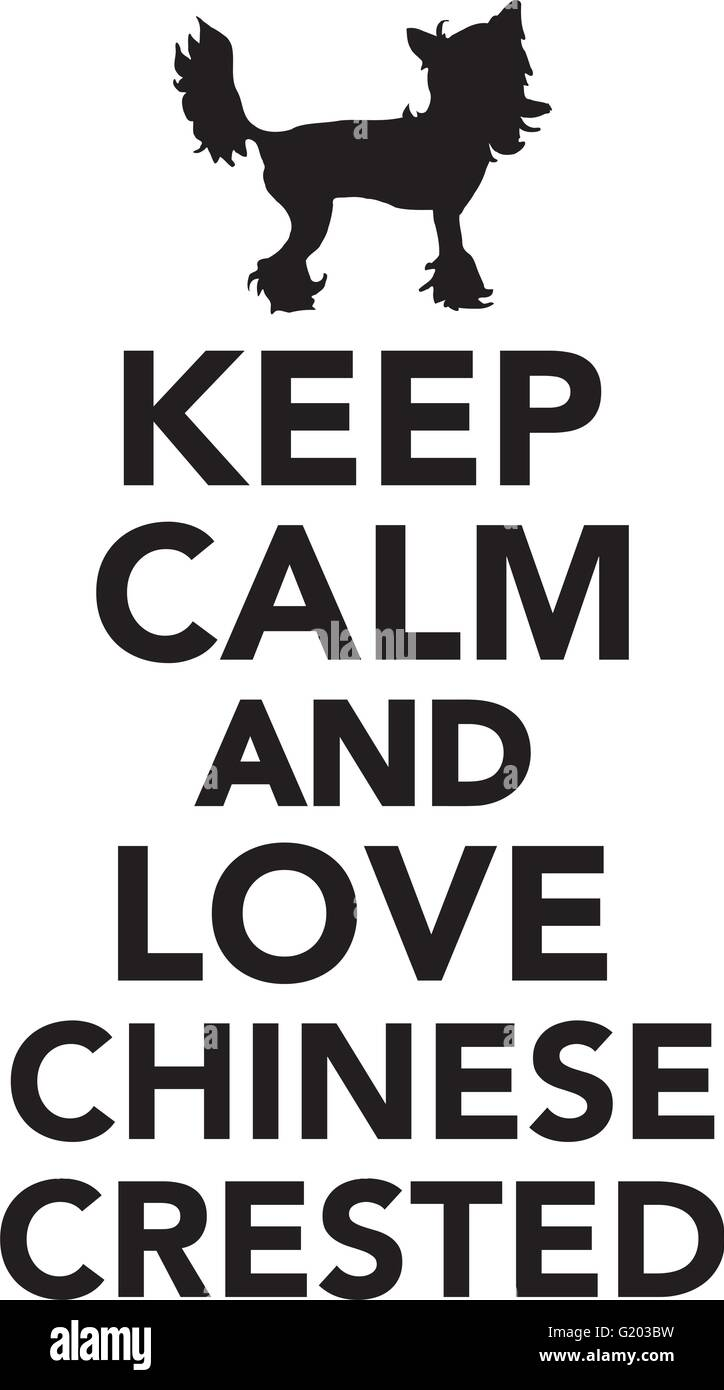 Keep calm and love chinese crested - Stock Vector
