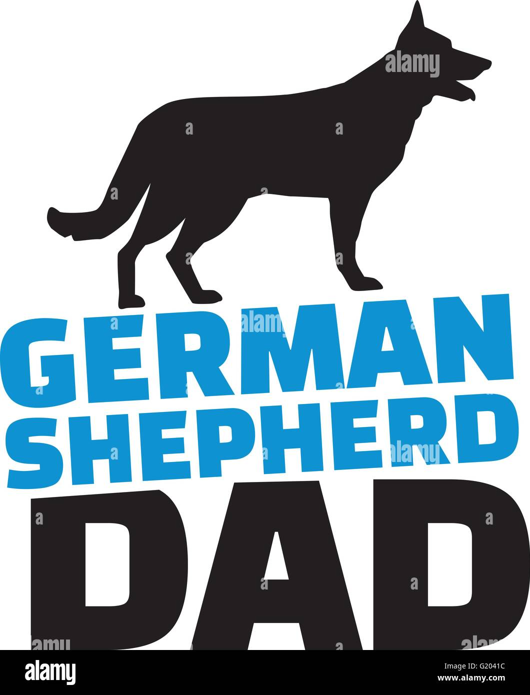 German Shepherd dad with dog silhouette - Stock Vector
