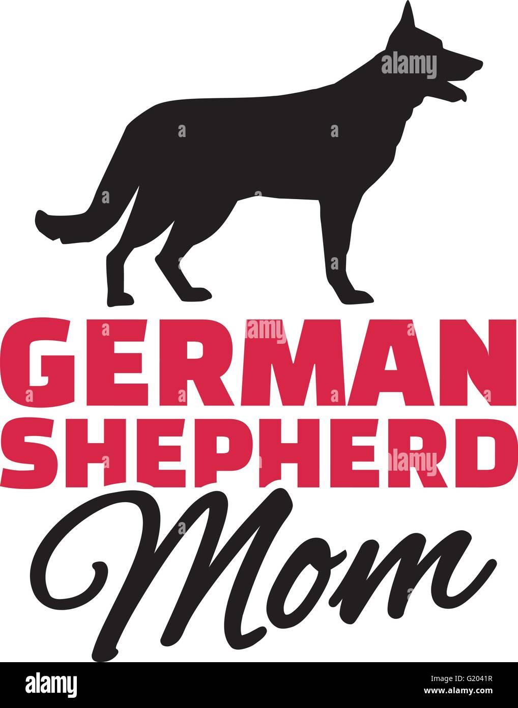 German Shepherd Mom with dog silhouette - Stock Vector