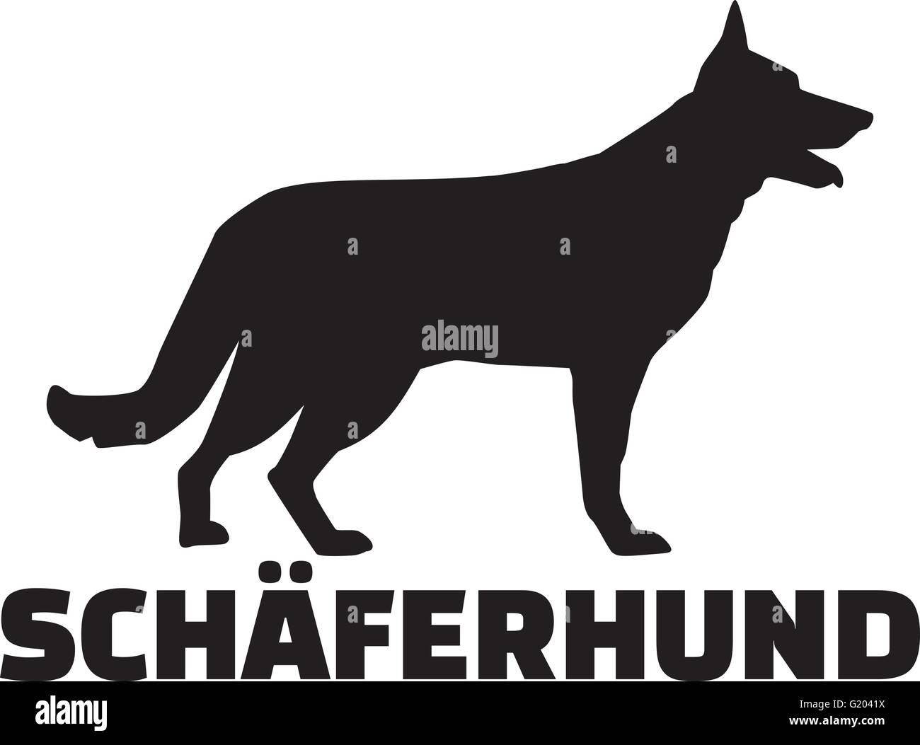 German Shepherd with breed name - Stock Vector