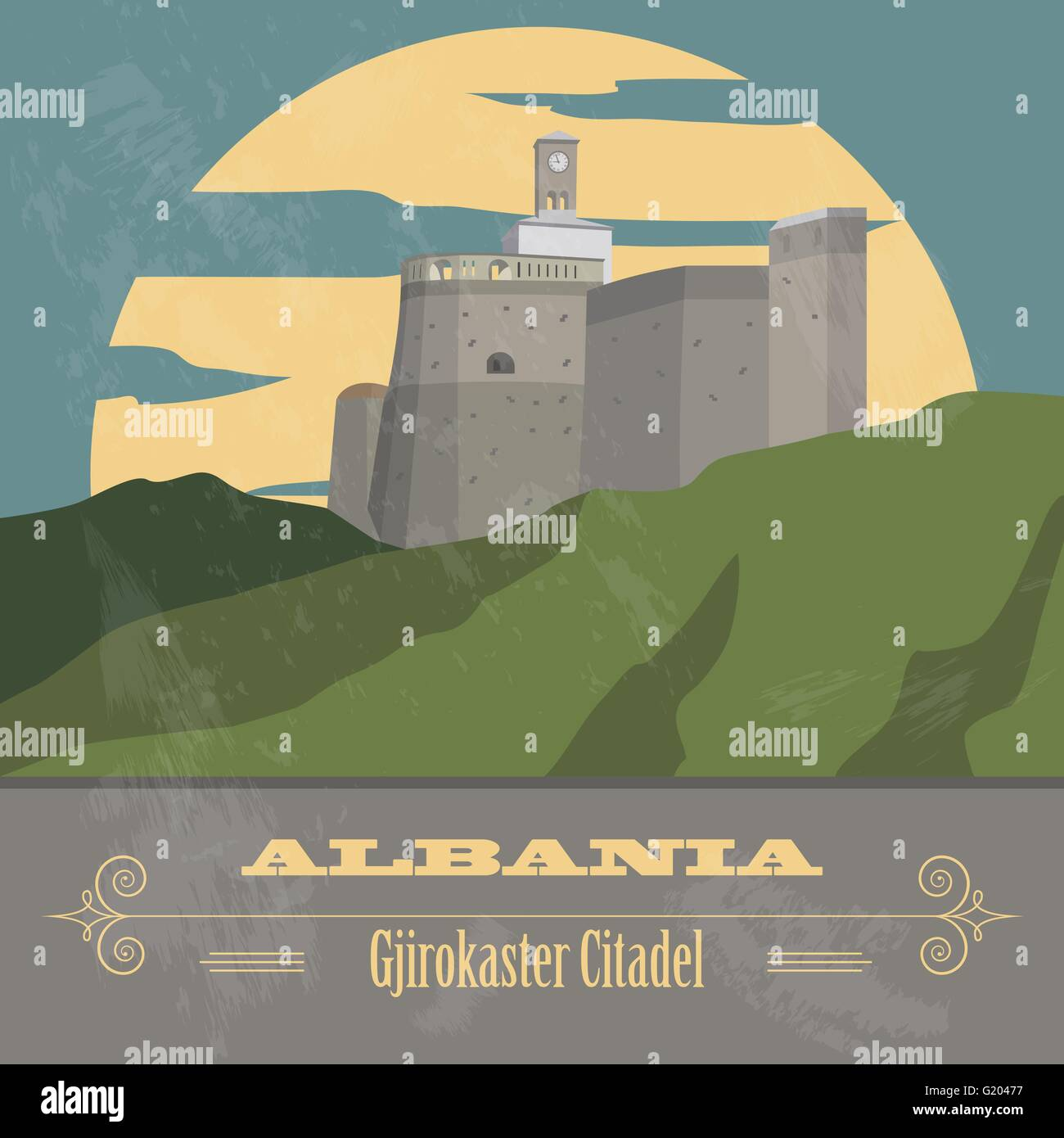 Albania landmarks. Retro styled image. Vector illustration - Stock Vector
