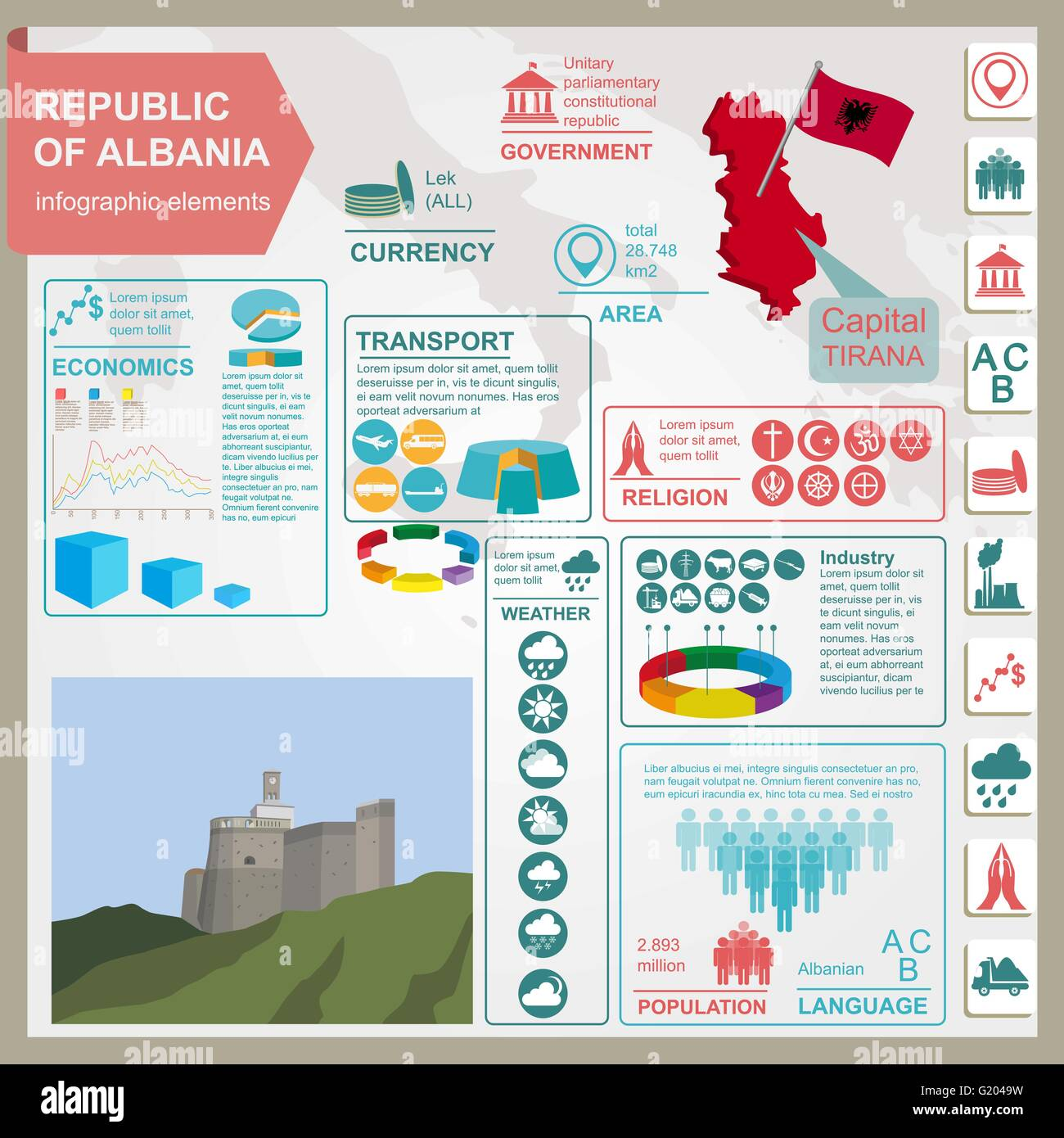 Albania  infographics, statistical data, sights. Vector illustration - Stock Vector