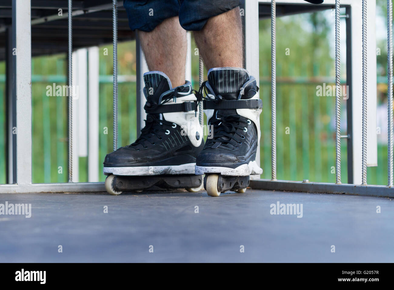 Inline Skates And Jump Stock Photos 11 Aggressive For Extreme Tricks In Focus Athlete Is Standing On Top Of The