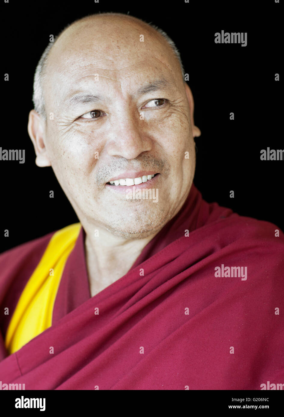 The Library of Tibetan Works and Archives Director Venerable Geshe Lhakdor La.Geshe Lhakdor is a highly respected Stock Photo