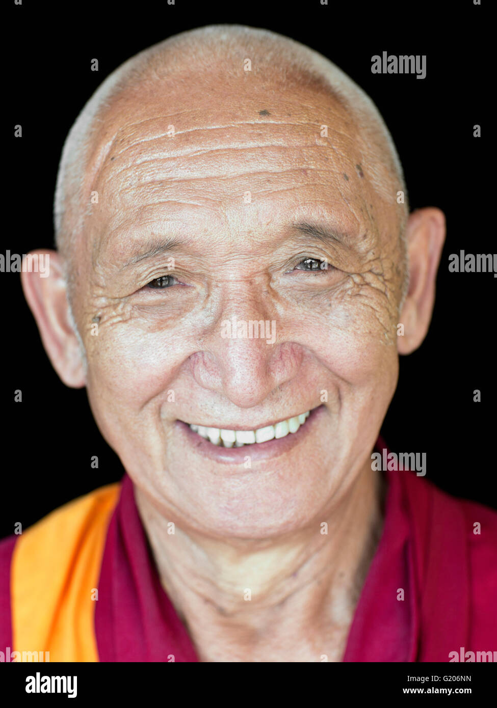 A portrait of Tibetan Monk and Buddhist philosophy teacher Geshe Sonam Rinchen. - Stock Image