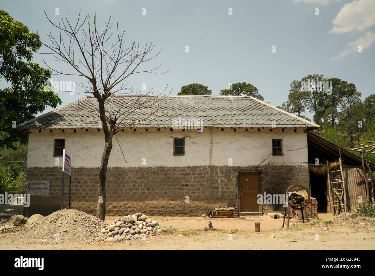 A typical village house in Himachal Pradesh, India - Stock Image