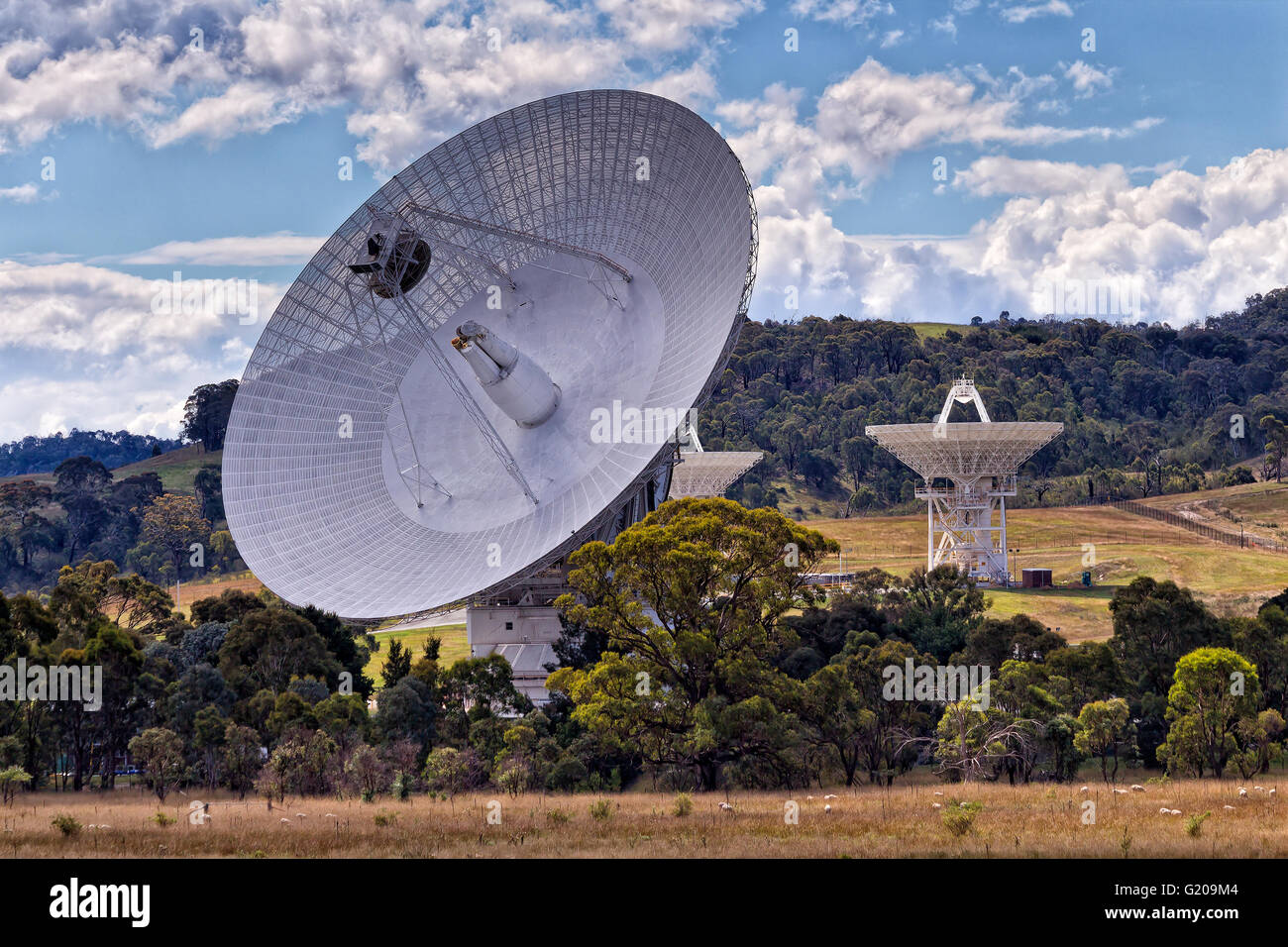 Close up of giant radio telescope antenna array of CSIRO - part of NASA space communication network in Tidbinbilla - Stock Image