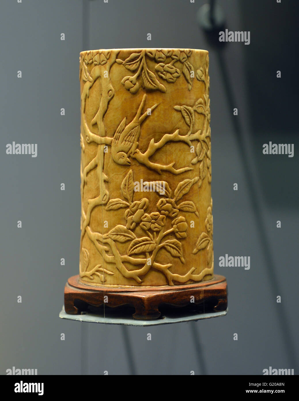 Ivory Chinese brushes holder. Ming Dynasty (1368 - 1644). Capital Museum, Beijing, China. - Stock Image