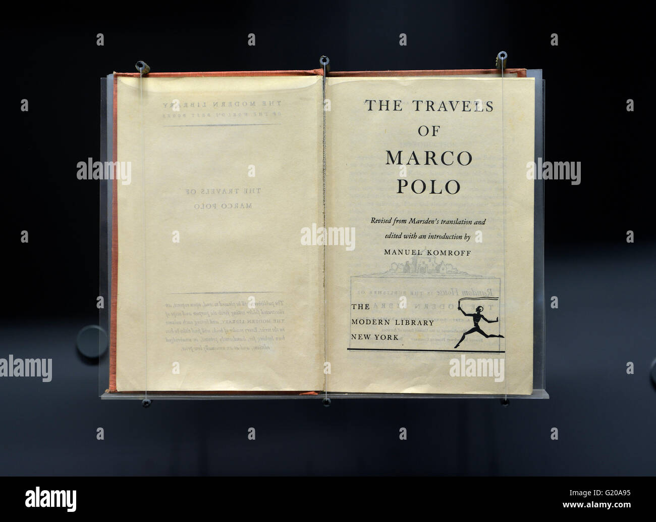 An old edition of The Travels of Marco Polo. Capital Museum, Beijing, China. - Stock Image