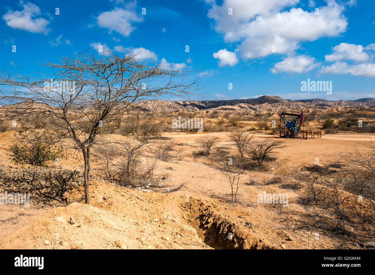 Oil Pump in the Desert, Mancora, Peru - Stock Image