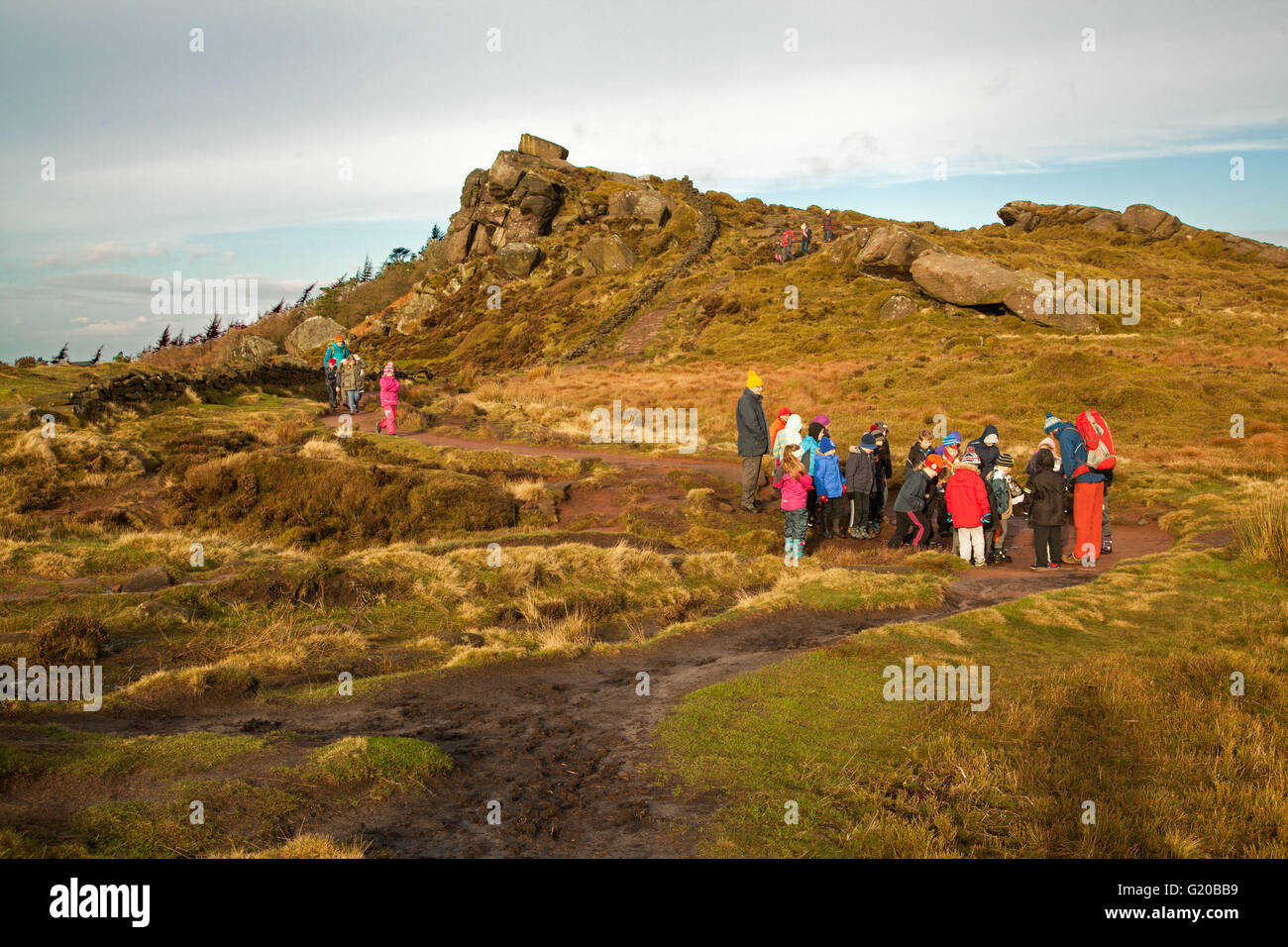 Children on a school field trip to the Roaches on the Stafordshire Moorlands England - Stock Image