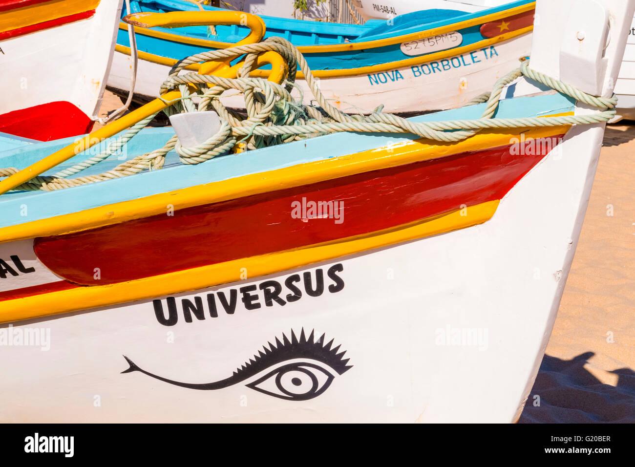Universus fishing boat, Armação de Pêra, Portugal - Stock Image