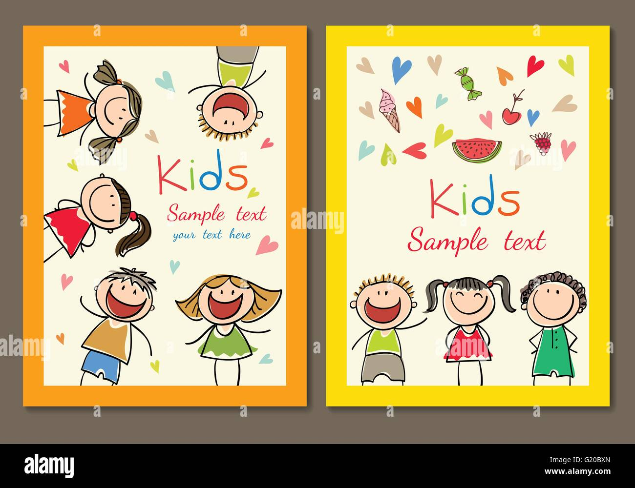 business card with a picture of children Stock Vector Art ...